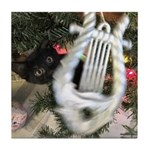 Christmas Tree Kitten Tile Coaster