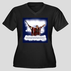 False Christ Women's Plus Size V-Neck Dark T-Shirt