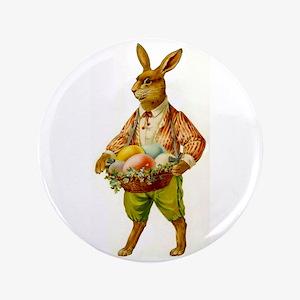 "Antique Easter Bunny 3.5"" Button Pin"