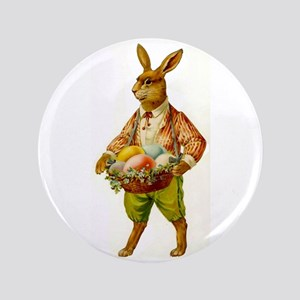 "Antique Easter Bunny 3.5"" Button Pin"