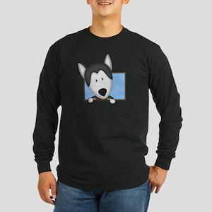Cartoon Siberian Husky Long Sleeve Dark T-Shirt