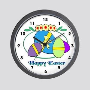 Happy Easter Eggs Wall Clock