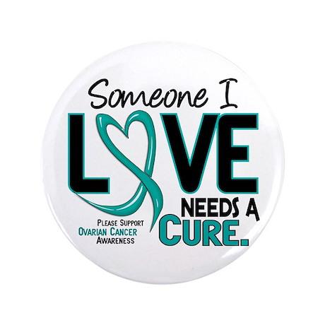 "Needs A Cure 2 OVARIAN CANCER 3.5"" Button (100 pac"