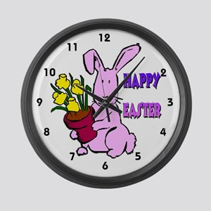 Easter Bunny Flowers Large Wall Clock