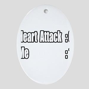 """""""Heart Attack Survivor"""" Oval Ornament"""