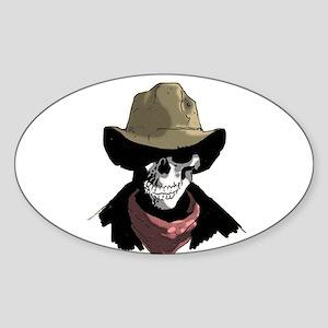 Cowboy Skull Oval Sticker