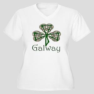 Galway Shamrock Women's Plus Size V-Neck T-Shirt