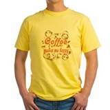 Coffee lover Mens Classic Yellow T-Shirts