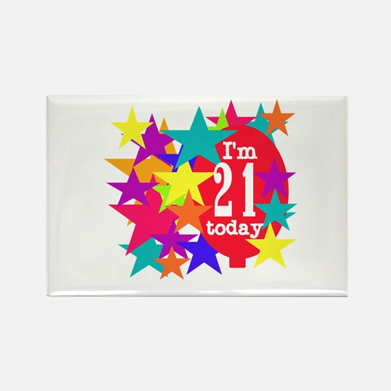 Balloon and Stars 21st Birthday Rectangle Magnet