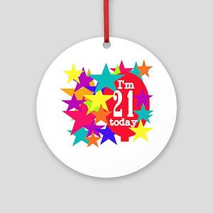Balloon and Stars 21st Birthday Ornament (Round)