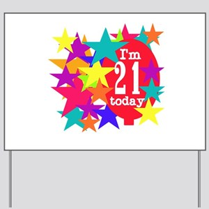Balloon and Stars 21st Birthday Yard Sign