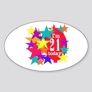 Balloon and Stars 21st Birthday Oval Sticker