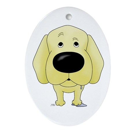 Big Nose Yellow Lab Oval Ornament