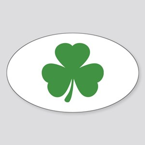 green shamrock irish Oval Sticker