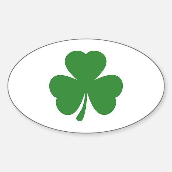 green shamrock irish Oval Decal