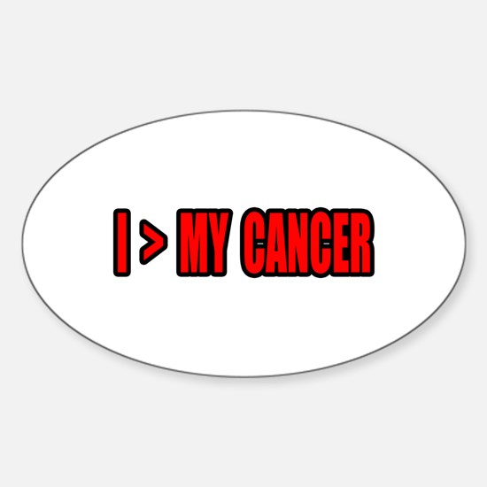 """I Am Greater Than My Cancer"" Oval Decal"