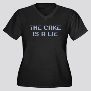 The Cake Is A Lie Women's Plus Size V-Neck Dark T-