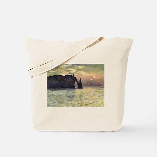 Claude Monet, Cliff Etretat Sunset Tote Bag