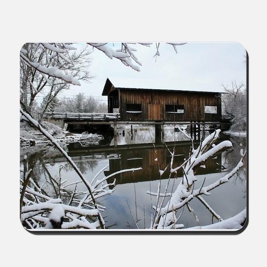 Snow Covered Bridge Mousepad