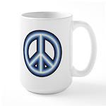 Blue Peace Symbol 15 oz Ceramic Large Mug