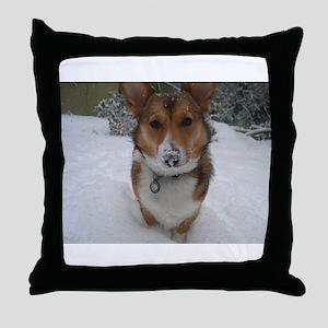 Winter Corgi Throw Pillow
