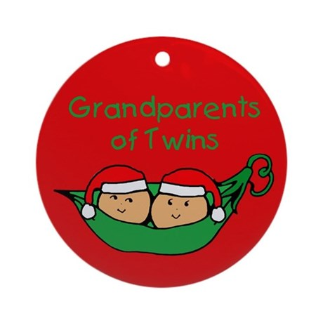 Grandparents of Twins Pod Ornament (Round)