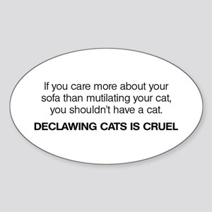 No Declawing Sticker (Oval)