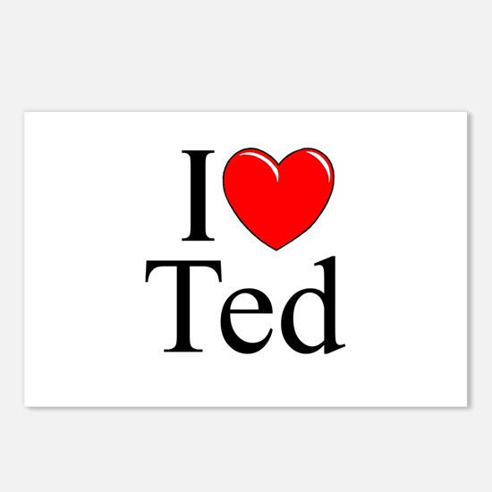 """""""I Love (Heart) Ted"""" Postcards (Package of 8)"""