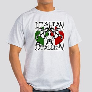 Ash Grey Italian Stallion 100% Cotton T-Shirt