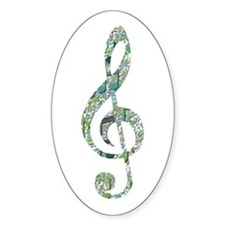 Green Notes Treble Clef Oval Sticker