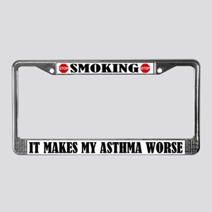 Asthma And Smoking License Plate Frame