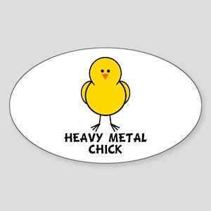 Heavy Metal Chick Oval Sticker