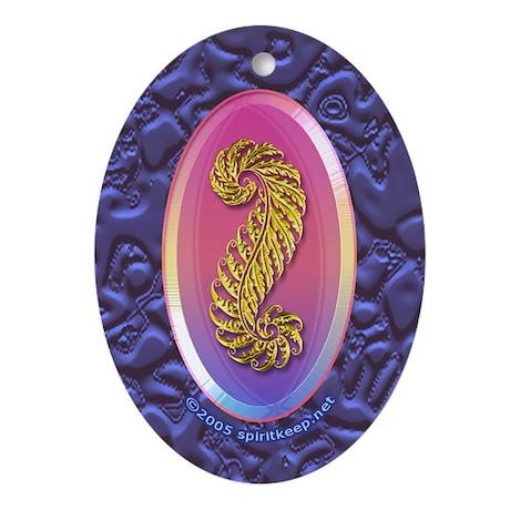 Gold n Purple Plume Keepsake Oval Ornament