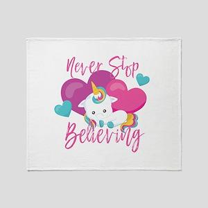 Never Stop Believing Unicorn Throw Blanket