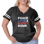 Peace Love Happy Hour Women's Plus Size Football T