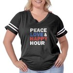 Peace Love Happy Hour Women's Plus Size Football T