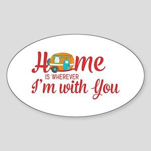 Home Is Retro Camper Typography Sticker