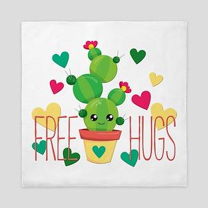 Free Hugs Cute Cactus Plant Queen Duvet