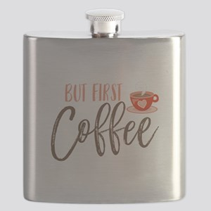But First Coffee Hand Lettered Flask
