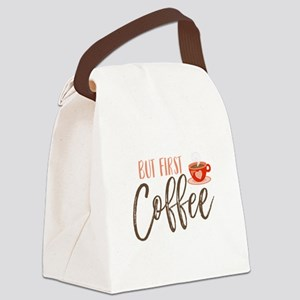 But First Coffee Hand Lettered Canvas Lunch Bag
