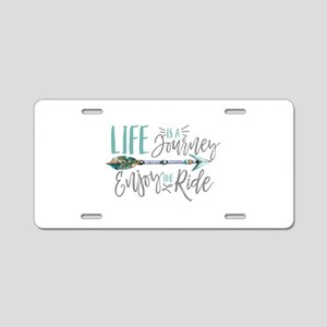 Bohemian Typography Life Is Aluminum License Plate