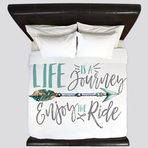 Bohemian Typography Life Is A journey King Duvet