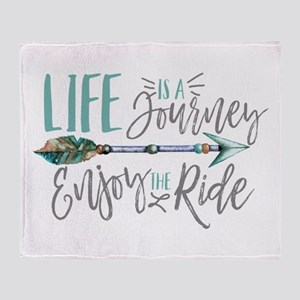 Bohemian Typography Life Is A journe Throw Blanket