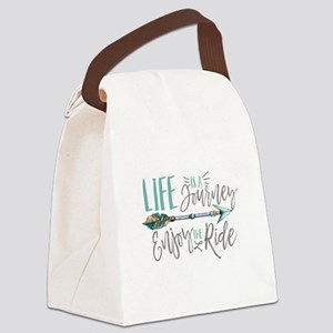 Bohemian Typography Life Is A jou Canvas Lunch Bag