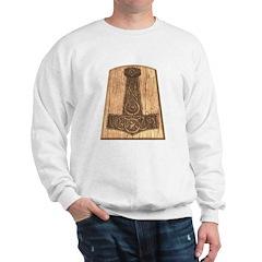Thors Hammer on Wood Sweatshirt