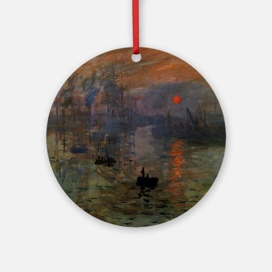 Impression, Sunrise by Claude Monet Ornament (Roun