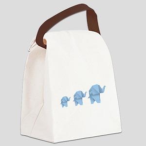 Origami elephant family design Canvas Lunch Bag