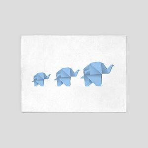 Origami elephant family design 5'x7'Area Rug