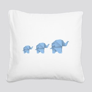 Origami elephant family desig Square Canvas Pillow