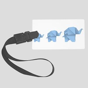 Origami elephant family design Large Luggage Tag